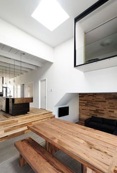 montreal tiny home, window to bedroom above