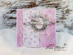 """Gorgeous card """"Heartfelt Love"""" by Tina Ollett. Papers from MajaDesign's Sofiero collection.    #card #cardmaking #cardinspiration #papercraft #papercrafting #papercrafts #scrapbooking #majadesign #majadesignpaper #majapapers #inspiration #vintage"""