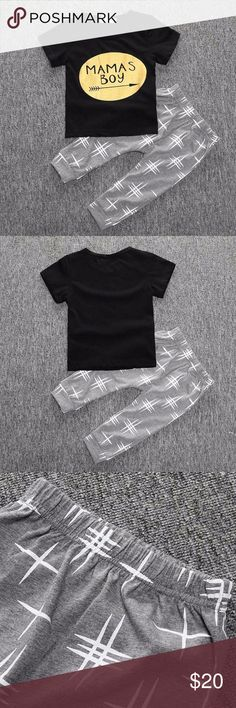 Brand new! Kids Tales baby clothes clothing set Brand new! Kids Tales baby clothes clothing set  SIZE:  12 months  MATERIALS: cotton blend  DETAILS: brand new - still in packaging!  Gender: boys. Black tee with gold arrow & grey pants. Kids Tales  Matching Sets