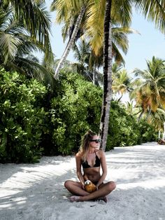 Black bikini/Palm trees/Coconut