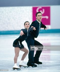 Pairs figure skaters Sergei Grinkov and Ekaterina Gordeeva of the USSR, en route to their gold medal at the Winter Olympic Games in Lillehammer, circa February 1994.