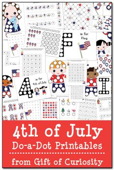 FREE 4th of July Do-a-Dot Printables: 24 pages of patriotic do-a-dot worksheets to help kids work on letters, numbers, shapes, colors, and more! #DoADot #IndependenceDay || Gift of Curiosity