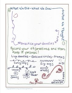 Doodle Ideas Page from harmonyfinearts.org