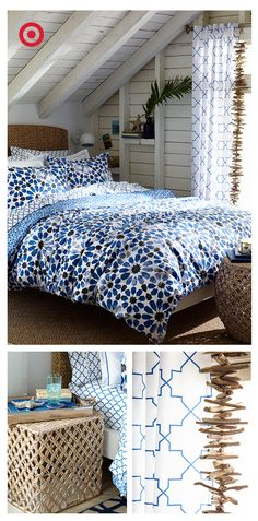 Sabrina Soto knows how to refresh a room—and she's made it super easy with her new bedding collection. Deep blues and natural elements create a serene bedroom—here's how to get the look: Layer linens in a mix of prints and patterns to create depth. Build a bedside table that doubles as a relaxation station. Then, top it off with a draping of driftwood.