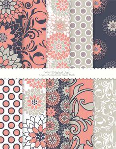 """Chrysanthemum Digital Scrapbook Paper Pack (8.5x11""""-300 dpi) -- Instant Download -- 10 Digital papers -- 379"""