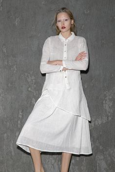 Woman's White Linen Shirt Asymmetrical Sheer Long by YL1dress