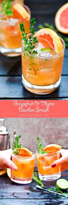 This Grapefruit and Thyme Bourbon Smash is full of bright citrus flavor and aromatic herbs, showcasing the best of winter seasonal fruit.