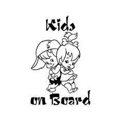 I ragazzi a bordo di Flintstones gemelli bambino ragazzi ragazze sicurezza informazioni su auto vinile decalcomania vetrofania - non stampato - (#06)