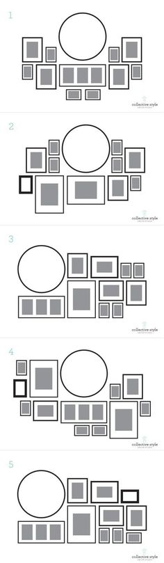 In love with home decoration — Layouts for gallery wall with a large round clock....
