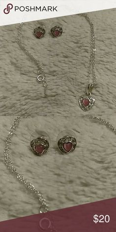 Earring and necklace set pink hearts Necklace and earring set. Shiny and nice but I'm not sure of actual material. Jewelry Necklaces