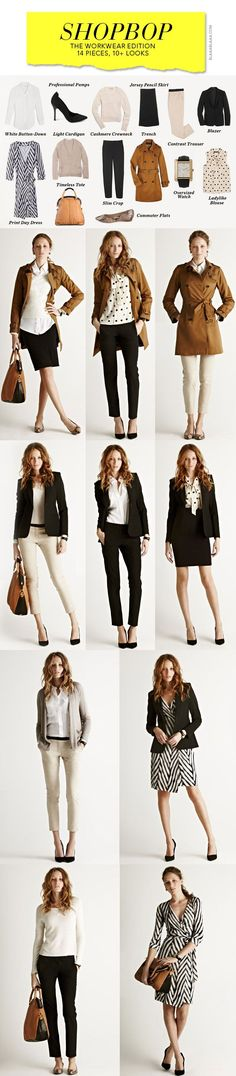 Work wardrobe inspiration. 14 pieces. 10 looks  (Okay...this isn't really my style, but I like that this shows the various ways to wear a few good investment pieces.)