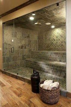 Holy cow, i love this! A master shower with added waterfall then turns into sauna Holy cow, i love this! A master shower with added waterfall then turns into sauna… Dream Bathrooms, Beautiful Bathrooms, Luxury Bathrooms, Hotel Bathrooms, Master Bathrooms, Master Bedroom, Master Baths, Chic Bathrooms, Bedroom Bed