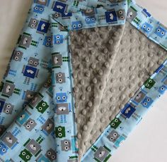 Robots Minky Baby to Toddler Blanket by IcingOnTheCupcake on Etsy