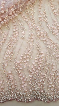 Salmon pink lace fabricbeaded luxury 3D lace fabrichand