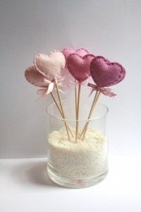Six (6) Wool Felt Heart Lollipop Party Decorations Pink Assortment
