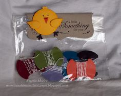 I love this chick, made w/punches. Cute treat bag topper: A little something for you.