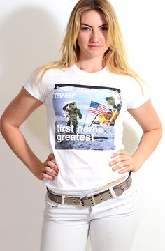 """Last Name: Ever.  First Name: Greatest"" white t-shirt.  Astronaut, moon, space tee."