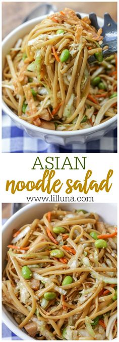 Asian Noodle Salad - coleslaw, linguine, chicken, and fried wonton strips covered in a delicious homemade Asian dressing! peas for edemame and omit wonton strips. Use fresh-cut Napa cabbage and add more veggies. Pasta Dishes, Food Dishes, Food Food, Asian Recipes, Healthy Recipes, Fried Wonton, Side Dishes For Bbq, Salad Recipes Video, Pasta Salad Recipes