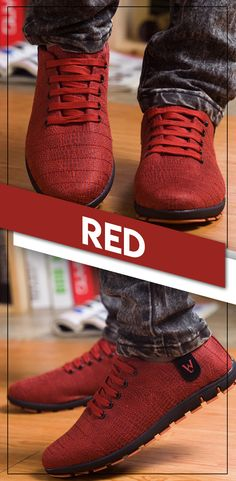 Men s stylish casual breathable canvas shoes - Men s Red fashion low lace  up shoes - Affordable 60578cf446b