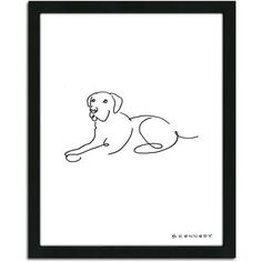 Personal-Prints Lab Dog Line Drawing Framed Art