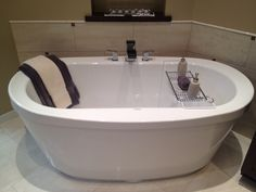 most comfortable freestanding tub. Guest bath  new American Standard pedestal sink with towel bar and Price Pfister waterfall faucet Our House Pinterest Waterfall Pedestal