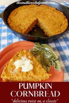 Iron Skillet Pumpkin Cornbread is so good slathered with butter and drizzled with honey on top. Pumpkin and cornbread are two of my favorite foods. Pumpkin Pie Mix, Pumpkin Butter, Pumpkin Dessert, Pumpkin Puree, Pumpkin Recipes, Fall Recipes, Cornbread Mix, Cornbread Recipes, Savory Bread Recipe