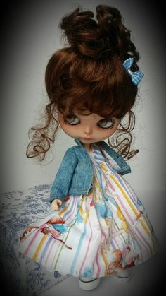 Denim jacket and laughing ladies dress by MinniebloomersDesign