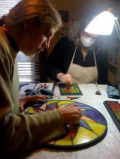 Wayne Stratz and Margaret Almon in her studio