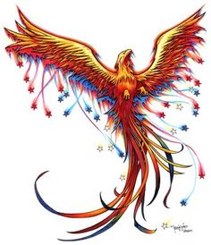 Definitely want a phoenix on my back. Maybe something similar, but less cartoonish more fiery, no stars and less rainbow effect.