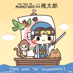 Tale of Momotarō (The Peach Boy)!    This story is a favorite bedtime story in Japan, because it teaches children that there can be good karma in being brave. :)  https://www.facebook.com/photo.php?fbid=399073216904703&set=a.242107582601268.1073741825.200386876773339&type=1&relevant_count=1   ♥ www.japanlover.me ♥  http://japanlover.me/cool/  Art by: littlemisspaintbrush