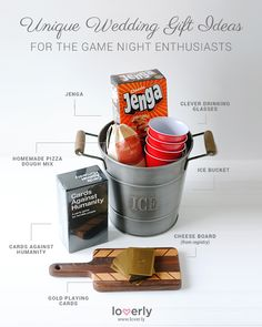 Game night themed gift basket - for weddings or other party/gift-giving occasions!