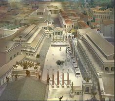 The Roman Forum seen from the top of the Tabularium c.360 CE, Gilbert Gorski  Permalien de l'image intégrée