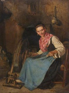 Woman Spinning by Thomas Stuart Smith (1813–1869)