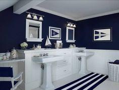 Navy and white bathroom ideas innovative navy blue bathroom decor ideas about navy bathroom on navy Navy Blue Bathrooms, Nautical Bathroom Decor, Beach Bathrooms, Modern Bathroom Decor, Bathroom Interior, Small Bathroom, Bathroom Ideas, Bathroom Designs, Basement Bathroom