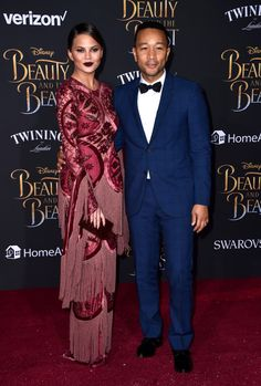 "Model Chrissy Teigen and singer/sonngwriter John Legend attend Disney's ""Beauty and the Beast"" premiere at El Capitan Theatre on March 2, 2017 in Los Angeles, California."