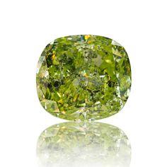 #Carat, #Sothebys, #Diamond, #Auction, #Jewelry, #Graff, #GIA, #Rings, #EngagementRing, #DiamondRing, #PinkDiamonds, #ColoredDiamonds 0.90ct Fancy intense yellow-green diamond. Cushion modified brilliant shaped stone with gorgeous color. This diamond is certified by GIA.
