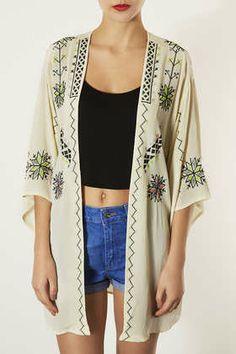 Aztec Embroidered Kimono