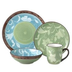 Love these colors :)    16 Piece Patio Garden Dinnerware Set at Joss & Main