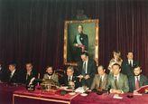 Constitución de la mesa de edad para la elección del presidente de la Diputación en abril de 1979