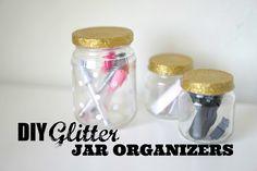DIY Glitter Jar Organizers - Make organizing fun with glitter!  Enjoy this tutorial!