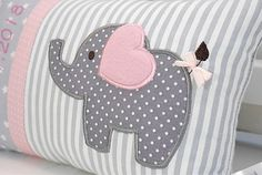 Personalized pillow for birth or baptism eefant pink cotton fabric cuddly pillow childrens pillow name pillow baby Personalisiertes Kissen zur Geburt oder Taufe Eefant rosa Fluffy Pillows, Baby Pillows, Kids Pillows, Baby Sewing Projects, Sewing Crafts, Cuddle Pillow, Elephant Quilt, Personalized Pillows, Baby Crafts