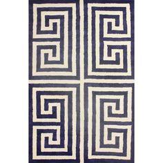 nuLOOM Handmade Greek Key Navy New Zealand Wool Rug (7'6 x 9'6)