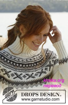 """Ivalo - Knitted DROPS jumper with round yoke and Norwegian pattern in """"Karisma"""". - Free pattern by DROPS Design Drops Design, Knitting Designs, Knitting Patterns Free, Free Knitting, Free Pattern, Knitting Club, Fair Isle Knitting, Crochet Woman, Knit Crochet"""