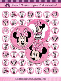 """Minnie Mouse 15 - 1"""" Bottle Cap Images - Digital Collage Sheets - Hair Bows, Magnets, Stickers - INSTANT DOWNLOAD"""