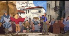 Miguel and Tulio in Spanish Market street 'The Road to El Dorado' Screenshot from the animated film
