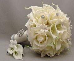 Wedding Bouquets Silk Flowers: Bridal Bouquet Design Silk White Roses With Pearls