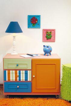 Cômoda restaurada com pintura, ideia para quarto de crianças