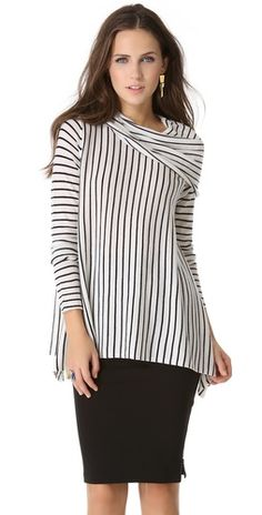 Stripes and skirt simple style  #women's #fashion #apparel #style
