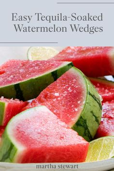 Treat yourself to a refreshing tequila-soaked watermelon wedge as a fun cocktail idea throughout this spring and summer season. See the full recipe for this easy fruit cocktail along with other summer recipes. Tequila Soaked Watermelon, Alcohol Soaked Fruit, Watermelon Cocktail, Watermelon Slices, Dessert Drinks, Dessert For Dinner, Yummy Drinks, Yummy Food, Fruit Dessert
