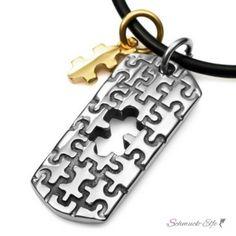 Partner Anhänger Puzzle Teile Silber / Gold 316 L...